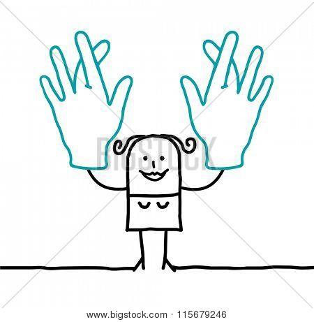cartoon woman crossing her fingers