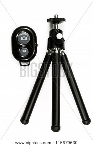 Tripod For Camera Isolated On The White Background