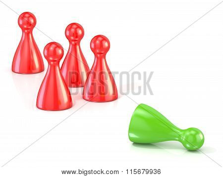 Red play figures standing and green one lying . Concept of rejection. 3D