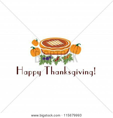 Happy Thanksgiving Illustration With Pie And Pumpkins