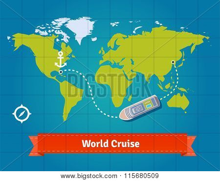 World touristic cruise with map background