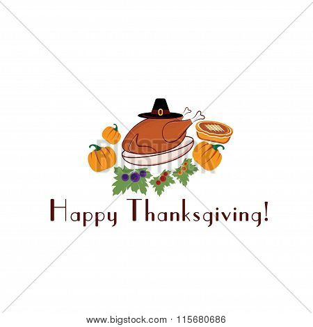 Happy Thanksgiving Illustration With Pie,turkey, Pilgrim Hat And Pumpkins