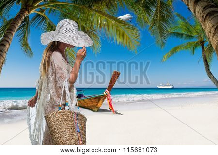 Woman at the tropical resort on holidays
