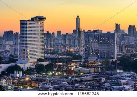 Bangkok, Thailand skyline on the Chao Phraya River.