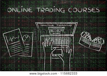 Computer User On Top Of Stock Market Data, With Text Online Trading Courses