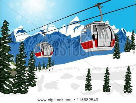 wonderful winter scenery with ski lift cable booth or car