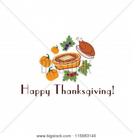 Happy Thanksgiving Illustration With Pie,turkey And Pumpkins