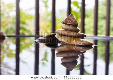 Pebble On Water In Zen Style Background