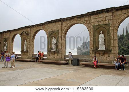 Montserrat, Spain - August 28, 2012: The Benedictine Abbey Santa Maria De Montserrat In Monistrol De