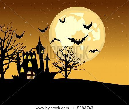 Halloween castle and bats on full moon background