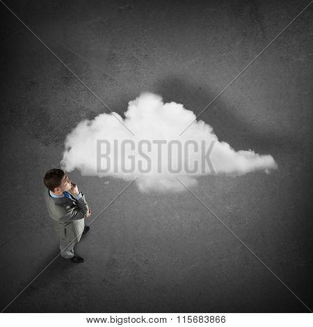 Businessman thinking over idea