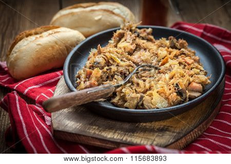 Traditional Polish Sauerkraut (bigos) With Mushrooms And Meat.