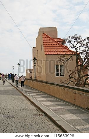 Prague, Czech Republic - April 16, 2010: Tourists On The Old Castle Staircase  - Stairs Leading To T