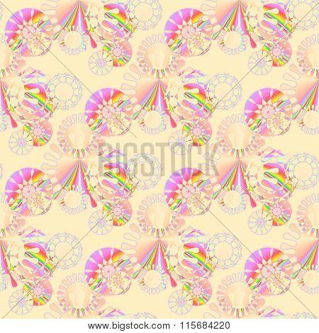 Seamless floral pattern beige pink violet