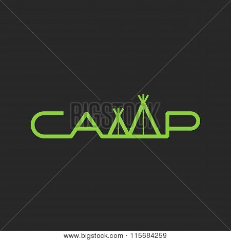 Word Camp Logo Tent Lettering, Mockup Print T-shirt Graphic Outdoor Emblem, Expedition Badge Templat