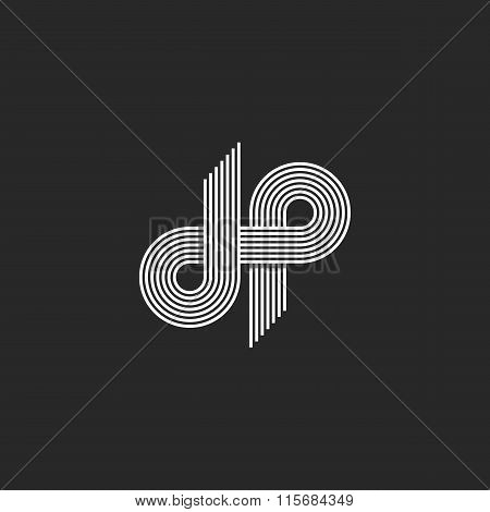 Logo Dp Letter Monogram, Offset Thin Line Style, Overlapping Design Element, D And P Pair Symbol, Li