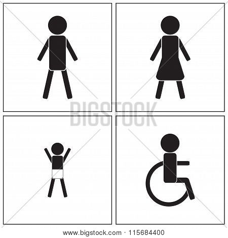 Restroom icons set. Man, woman, child and disability. Vector illustration.