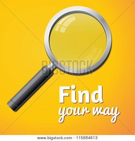 find your way inscription, vector magnifier isolated