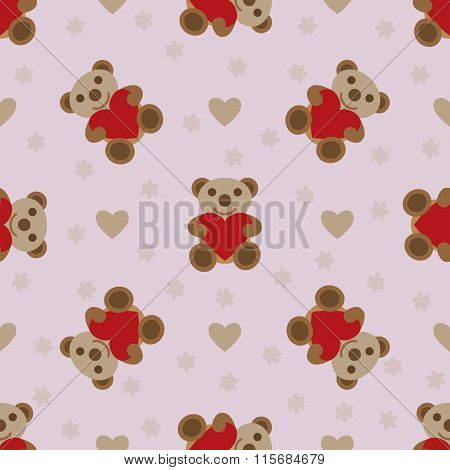 Seamless Pattern With Teddy Bear And Heart Toy.