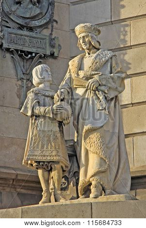 Barcelona, Catalonia, Spain - December 12, 2011: Statues At The Bottom Of The Monument To Christophe