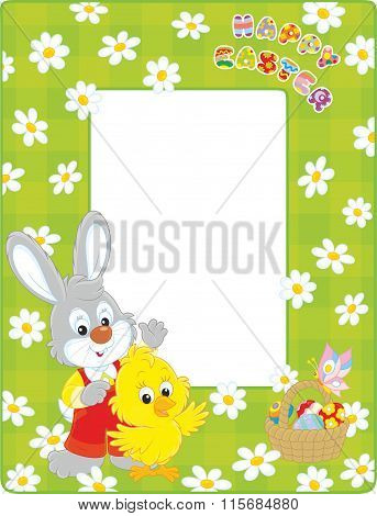 Easter border with Bunny and Chick