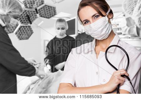Surgery team operating