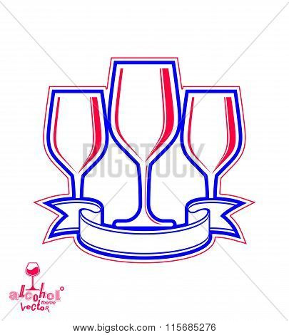 Classic Vector Three Goblets With Curvy Ribbon, Party And Celebration Theme Illustration. Lifestyle