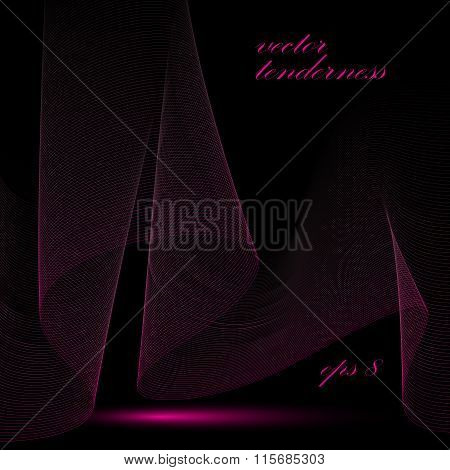 3D Vector Decorative Background With Curved Transparent Dynamic Ribbon. Wonderful Dark Romantic Aeri