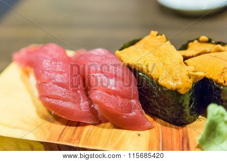 Tuna (toro) And Sea Urchin Sushi