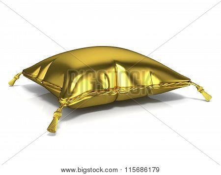 Royal old gold pillow. 3D