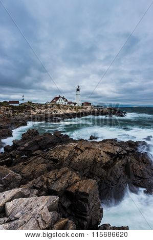 Portland Head Lighthouse In Cape Elizabeth, Maine In Storm.