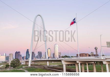 Dallas Downtown Skyline With Margaret Hut Hills Bridge