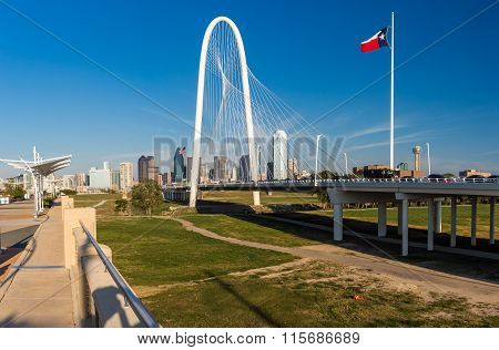 Dallas Downtown Skyline And Margaret Hut Hills Bridge, Texas