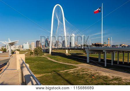 Dallas Downtown Skyline And Margaret Hut Hills Bridge, Texas