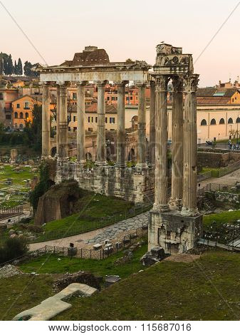 Temple Of Saturn And Temple Of Vespasian And Titus