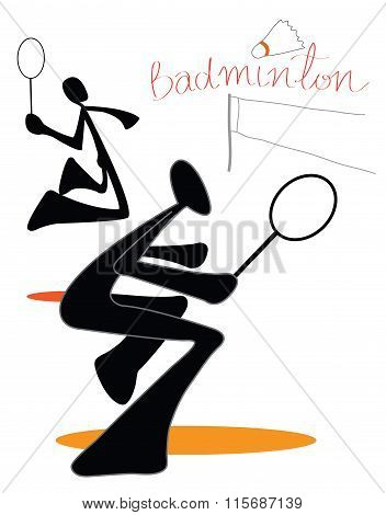 Badminton Couple Team Symbol Left