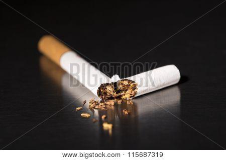 Closeup Broken Cigarette, Stop Smoking