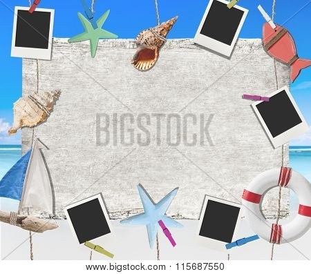 Banner Beach Placard Message Photo Picture Shell Concept