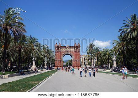 BARCELONA, SPAIN - AUGUST 2, 2015: Barcelona Arc De Triomf
