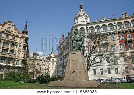 Prague, Czech Republic - April 16, 2010:  Statue Of Alois Jirasek At Jiraskovo Namesti (the Jirasek