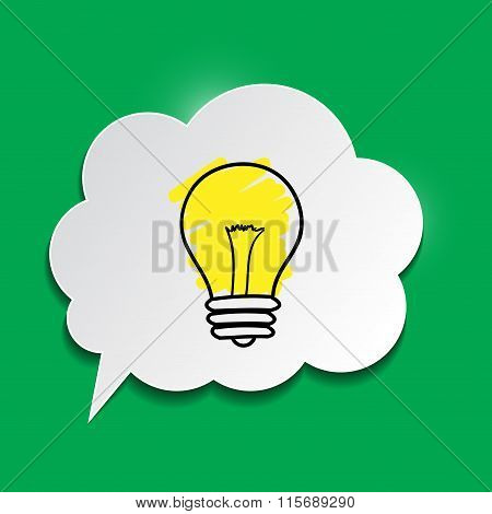 Paper Speech Bubble With Lightbulb On Green Background. New Idea