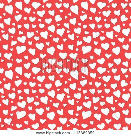 Abstract Hearts Seamless Pattern Doodle Texture