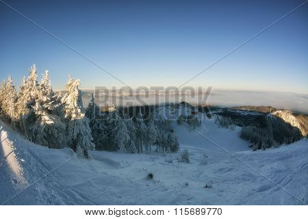Winter Story. Sunrise At The Top Of Postavarul Mountain. Brasov Romania. Low Key, Dark Background, S