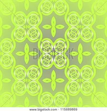 Seamless spiral ornament lime green gray blurred