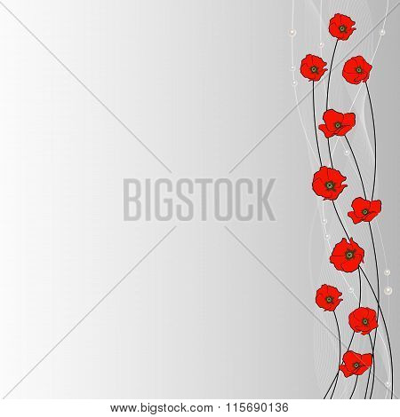 Arrangement of poppy flowers, veil and pearls on gray background for use in your design