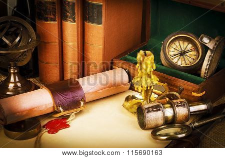 Old Books, Candle, Spyglass, Old Scroll With Red Wax Seal, Vintage Compass. Adventure Stories Backgr