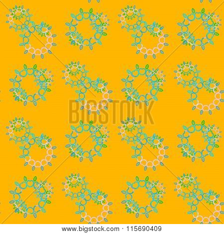 Seamless floral pattern yellow blue pink