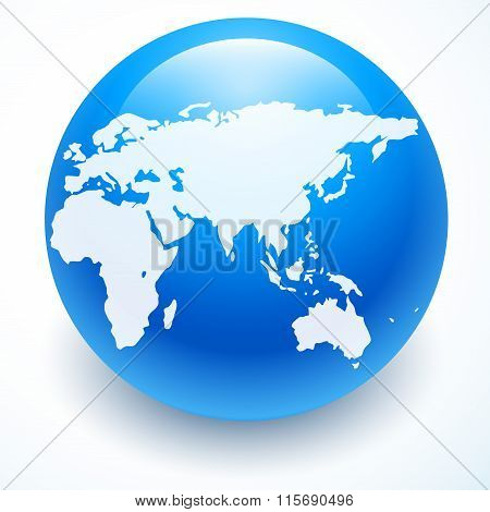 Globe icon with white map of the continents of the world