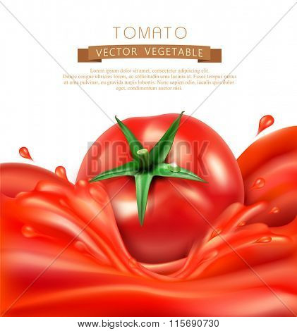 vector background with splashes, waves of red tomato juice and tomato. isolated on white background