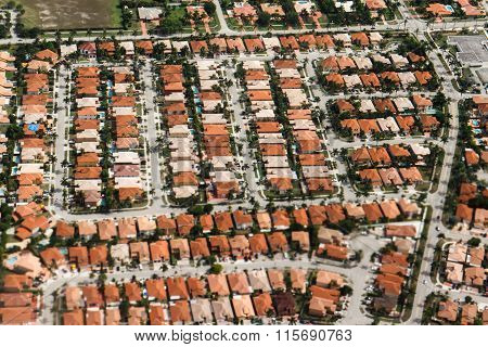 An Aerial View Of Typical Residential Property Found In The Miami Area.